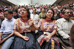 Two indigenous women sit at the trial of Efraín Ríos Monttt shown in 500 Years, Yates third film; photo credits: Daniel Herna?ndez-Salazar